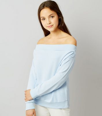 Teens Pale Blue Bardot Sweater
