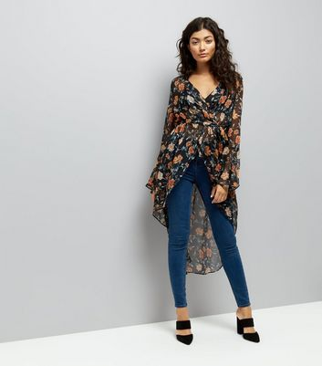 Black Floral Print Flared Sleeve Cover Up