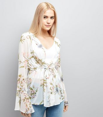 White Floral Chiffon Tie Front Blouse