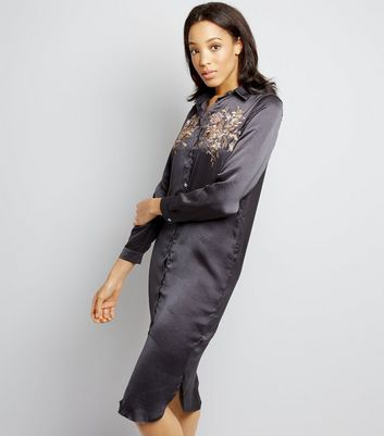 Blue Vanilla Grey Floral Embroidered Satin Shirt Dress