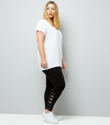 Curves Black Lace Up Hem Leggings