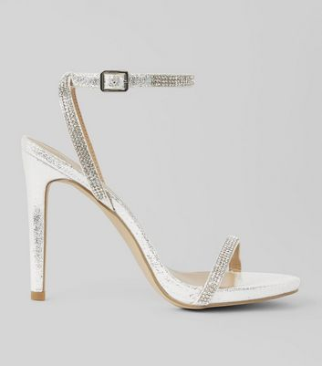 Silver Diamante Embellished Heeled Sandals | New Look