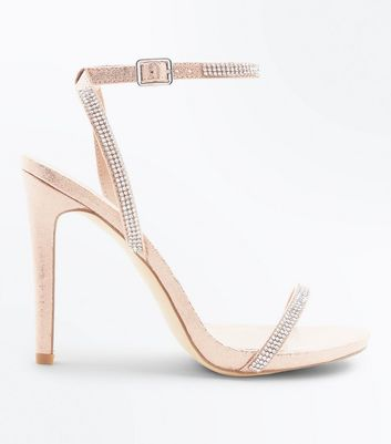 Rose Gold Diamante Embellished Heeled Sandals by New Look