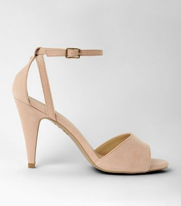 Nude Suedette Cut Out Cone Heel Sandals