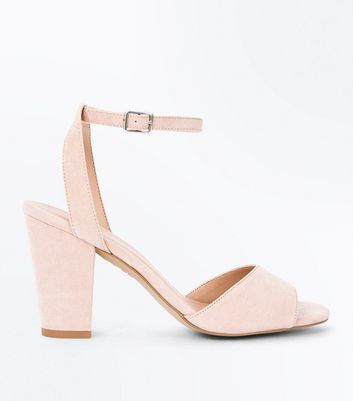 Nude Suedette Cut Out Back Block Heel Sandals