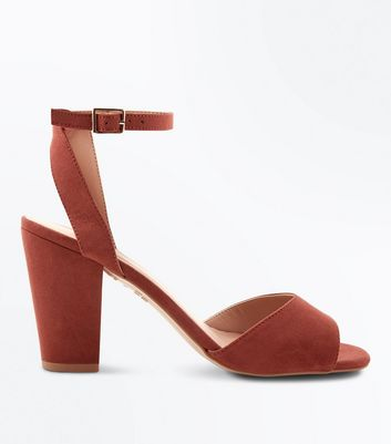 Rust Suedette Cut Out Back Block Heel Sandals