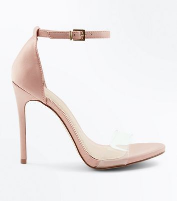 Pink Transparent Strap Heeled Sandals