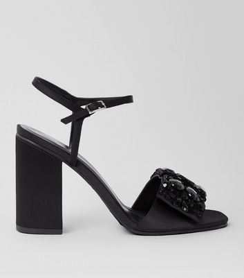 Black Satin Embellished Bow Front Sandals