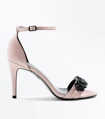 Pink Satin Gem Embellished Stiletto Heel Sandals