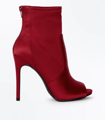 Red Satin Peep Toe Stiletto Shoe Boots