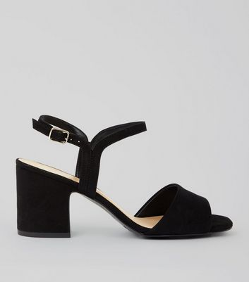 Black Suedette Block Heel Sandals