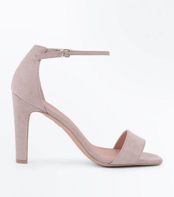 Mink Suedette Slim Block Heel Sandals