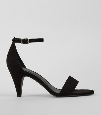 Black Suedette Cone Heel Sandals