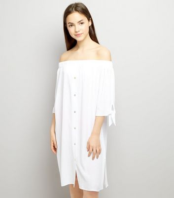 Teens White Bardot Neck Beach Dress