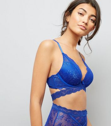 Blue Strappy Lace Push Up Bra