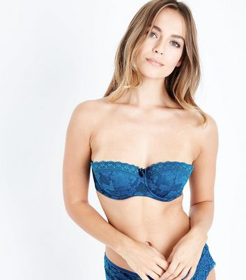 Teal Lace Strapless Bra