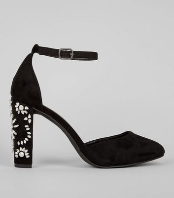 Wide Fit Black Embellished Heels