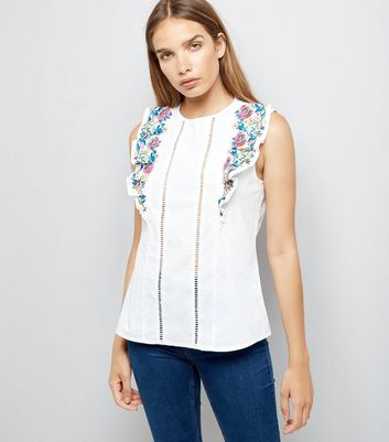 White Floral Embroidered Frill Front Top