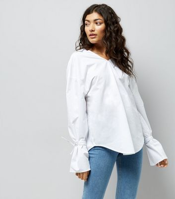 White Ring Back Bell Sleeve Shirt