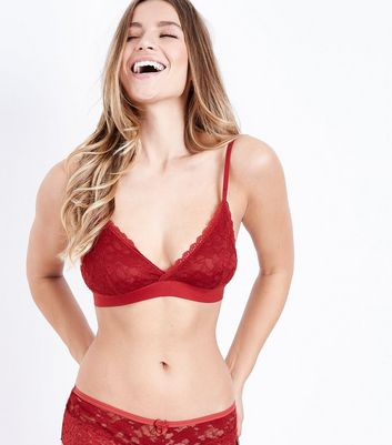 Red Lace Trim Bralet