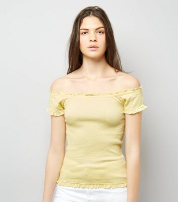 Soft Yellow Bardot Neck Frill Trim Top