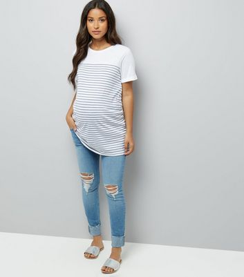Maternity Blue Ripped Over Bump Skinny Jeans