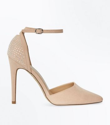 Cream Suedette Diamanté Back Pointed Heels