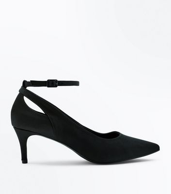 Black Satin Cut Out Kitten Heel Shoes