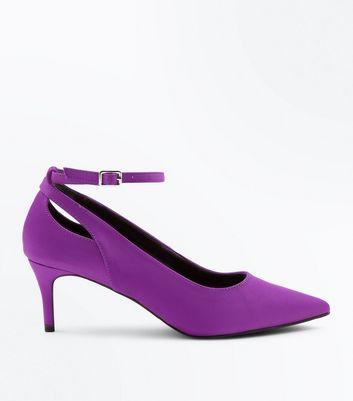 Purple Satin Cut Out Kitten Heel Shoes