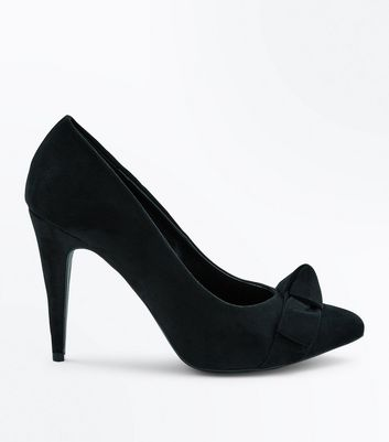 Black Suedette Bow Front Pointed Court Shoes