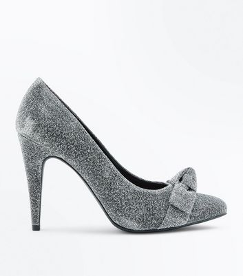Silver Glitter Bow Pointed Court Heels