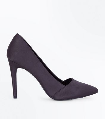 Grey Satin Pointed Court Shoes