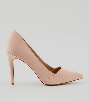 Nude Satin Pointed Court Shoes