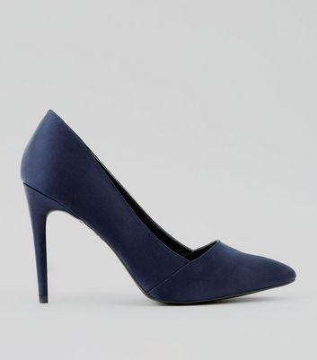 Navy Satin Pointed Court Shoes