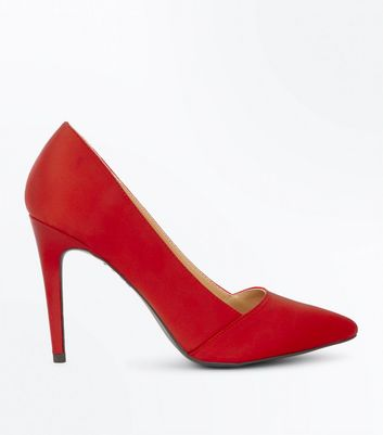 Red Satin Pointed Court Shoes
