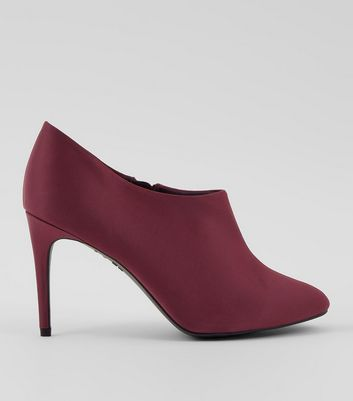 Burgundy Satin Stiletto Heel Shoe Boots