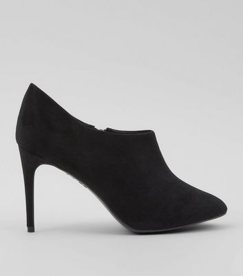 Black Suedette Low Cut Ankle Boots