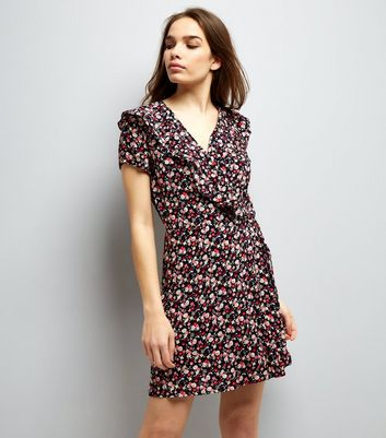 Cameo Rose Pink Floral Print Wrap Front Dress