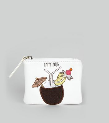 White Happy Hour Embroidered Zip Top Purse
