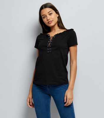 Black Lace Up Bardot Neck T-Shirt