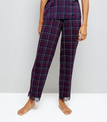 Petite Purple Check Lace Trim Pyjama Bottoms