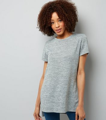 Pale Grey Split Side Longline T-Shirt
