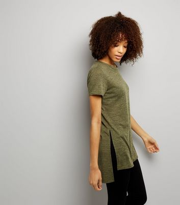 Khaki Split Side Longline T-Shirt