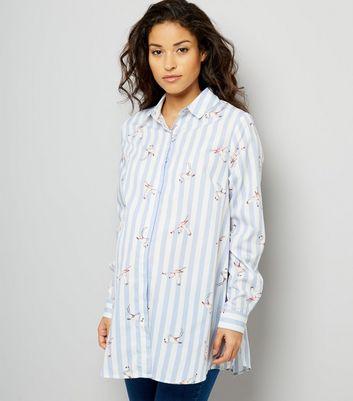 Maternity Blue Stripe Flamingo Print Shirt