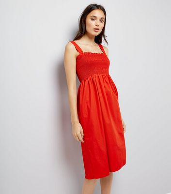 Red Shirred Smock Midi Dress