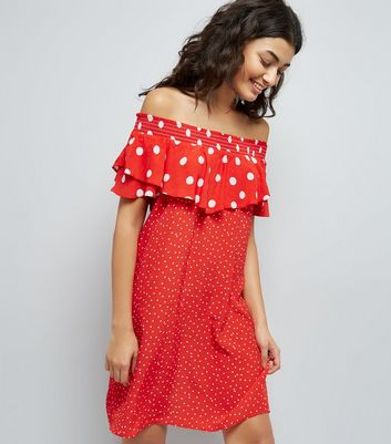 Red Contrast Polka Dot Bardot Neck Dress