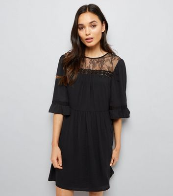 Black Lace Neck Smock Dress