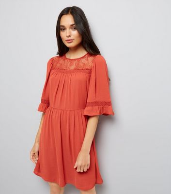 Light Brown Lace Neck Smock Dress