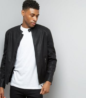 Black Leather-Look Zip Front Jacket