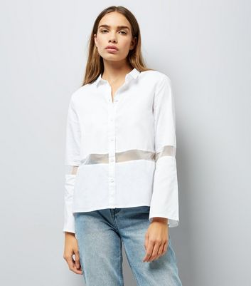 Noisy May White Sheer Panel Shirt